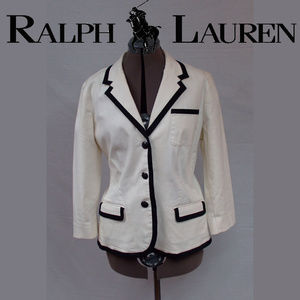 Ralph Lauren Cream Blazer with Black Piping XL